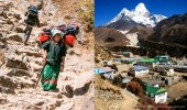 Nepal I Mt. Everest-Region I Trägerin und Ama Dablam