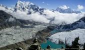 Nepal I Mt. Everest-Region I Blick vom Tokyo Ri (Khumbu) I Ngozumpa Gletscher, Gokyo und Gokyo See